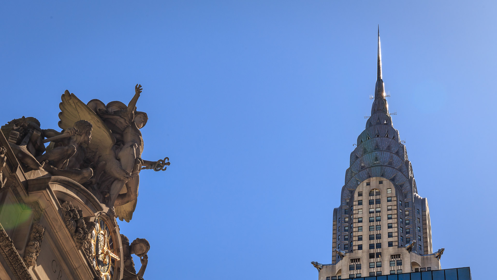 Chrysler Building und Statue des Great Central Terminal