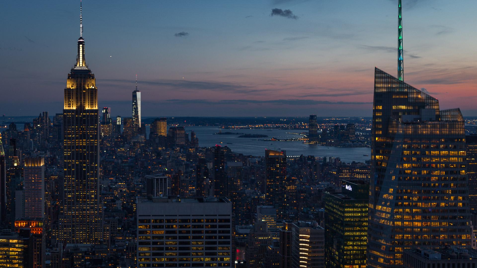 Blick abends vom Rockefeller Center
