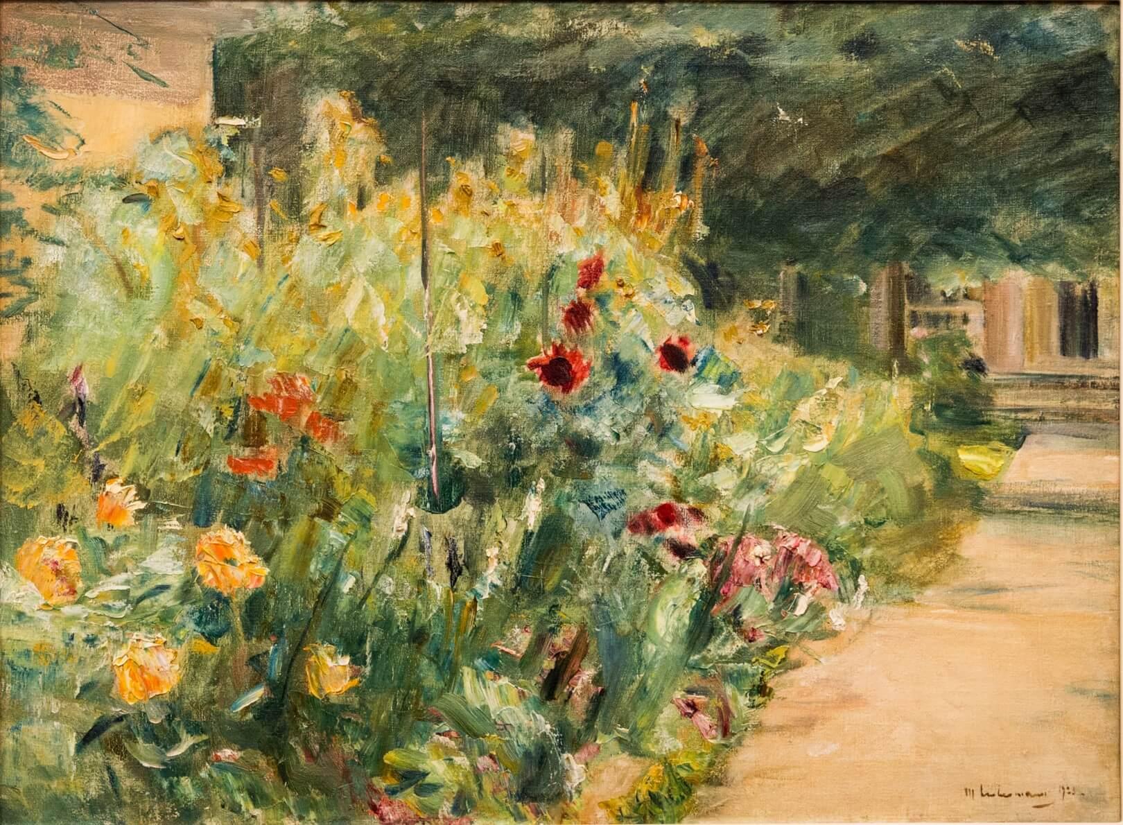 Max Liebermann, Blumenstauden am Gärtnerhäuschen nach Osten (1923)