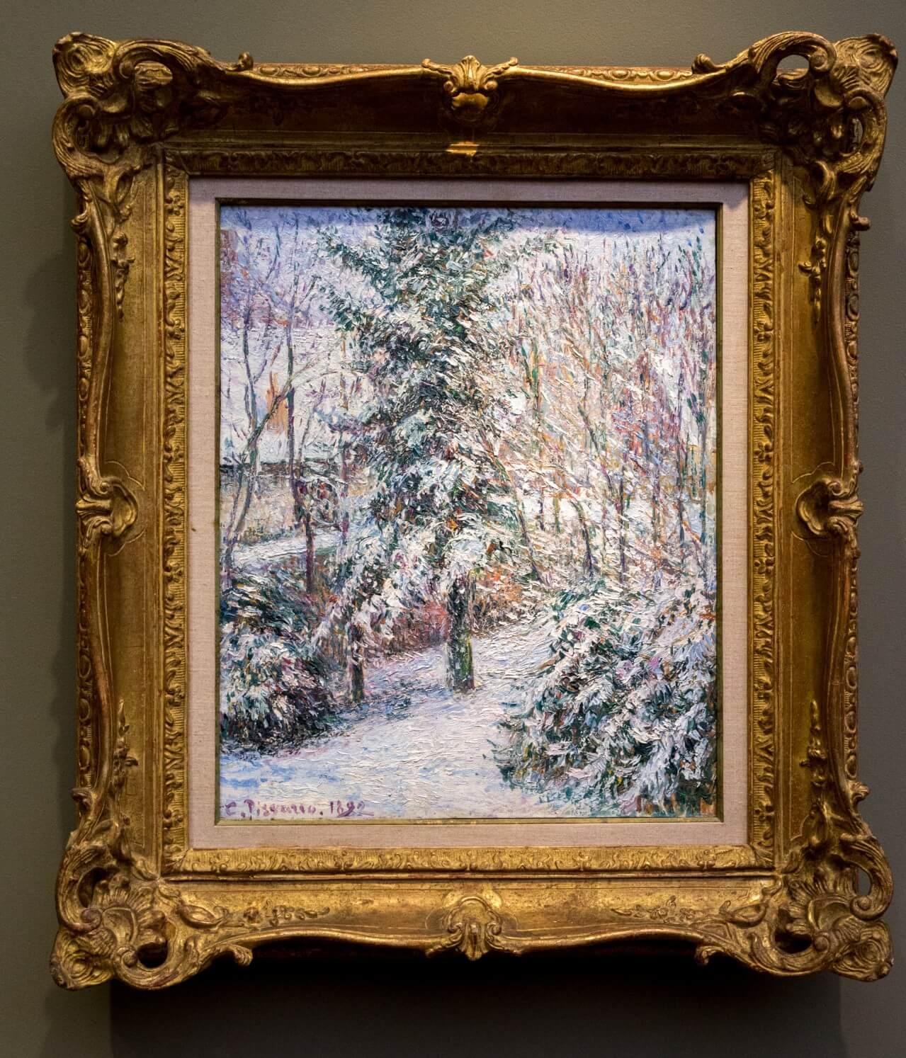 Camille Pisarro, Gartenecke, Schnee, Erágny (1892)