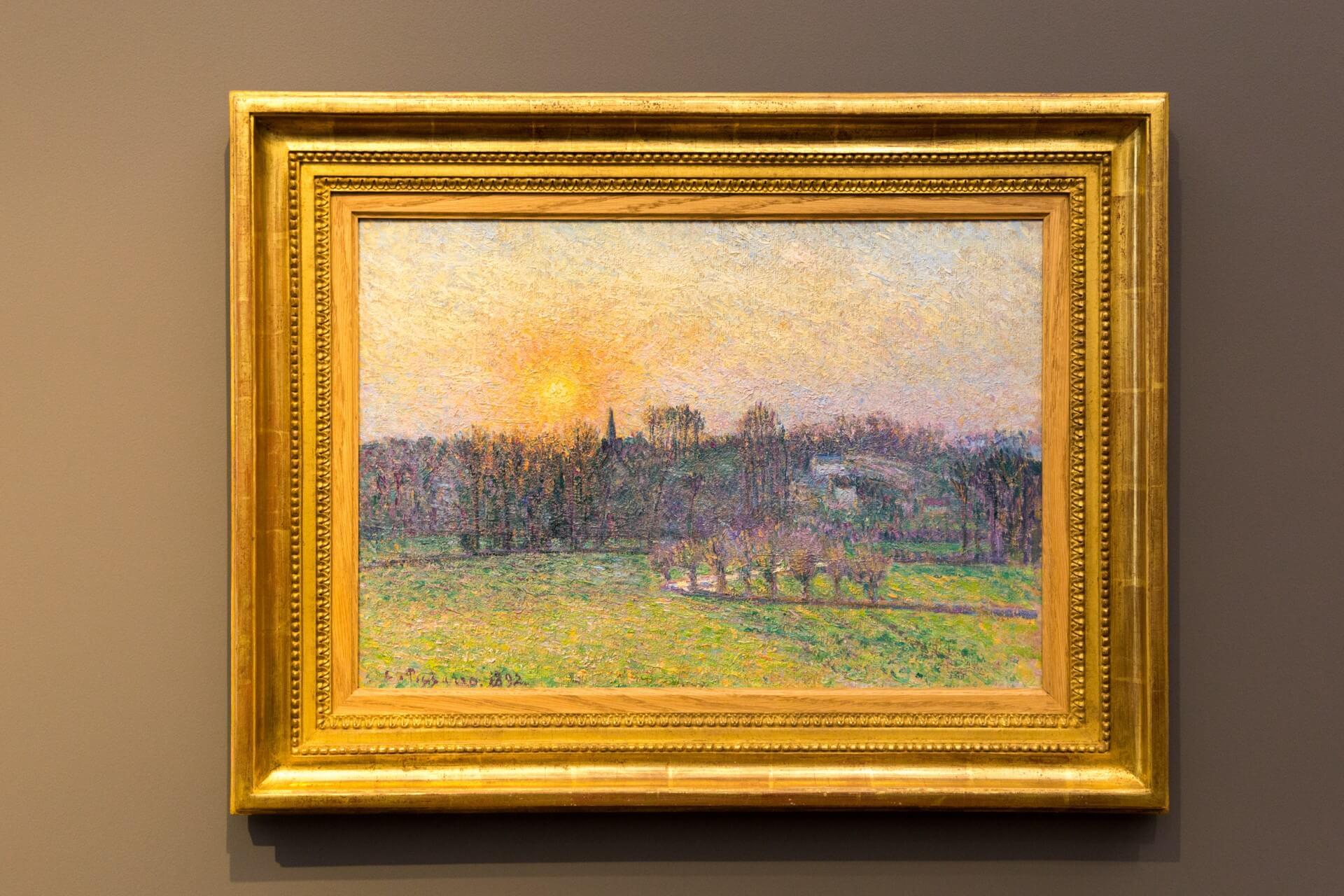 Camille Pisarro, Sonnenuntergang, Blick auf Bazincourt (1892)