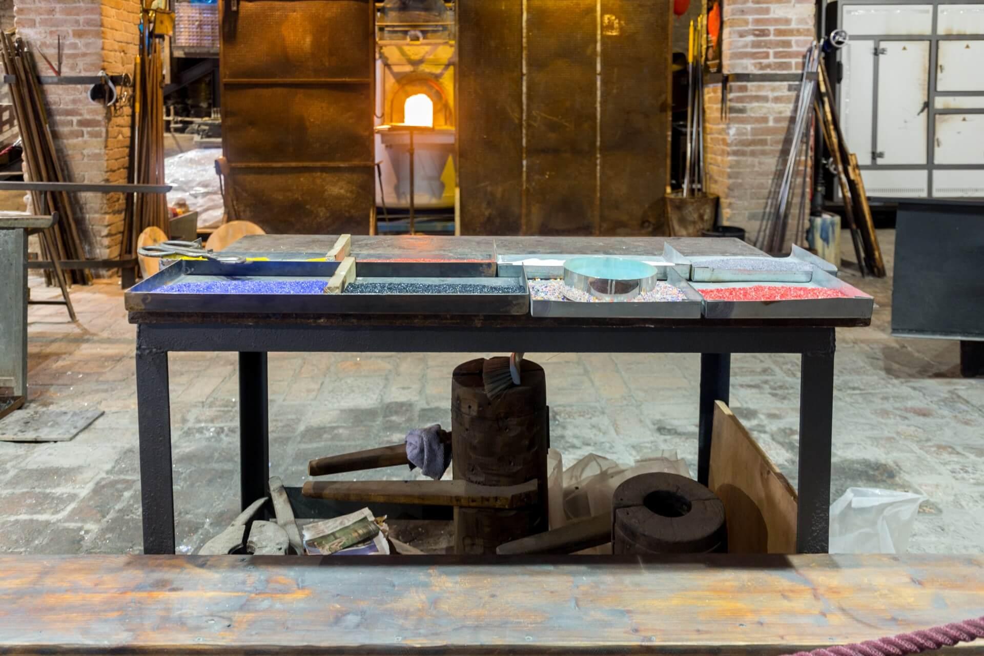 Murano, Arbeitsplatz der Glasbläser