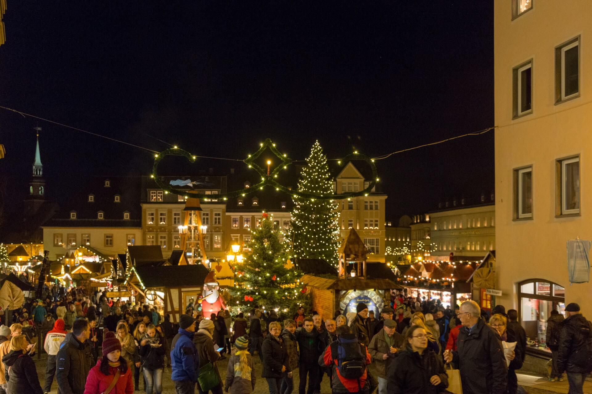 Blick zum Weihnachtsmarkt Annaberg-Buchholz